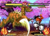 Samurai Shodown V Neo Geo Haohmaru uses the Backstep command to avoid be hit-damaged by Kusaregedo Youkai's slashing attack.
