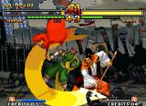 Samurai Shodown V Neo Geo Hanzo Hattori with the open guard: he's hit-damaged by Gaoh Hinowanokami Kyougoku's slashing blow...