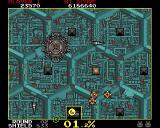 Volfied Amiga The second stage, with a battleship firing in the cardinal directions