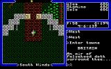 "Ultima V: Warriors of Destiny DOS The famous spooky ""an air of... surrounds thee"" greeting. It means there's a Shadowlord inside the town."