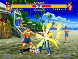 Real Bout Garō Densetsu Special: Dominated Mind PlayStation Joe Higashi executes his fast-punching move Bakuretsu Ken and causes some damage in Terry Bogard.