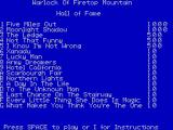 The Warlock of Firetop Mountain ZX Spectrum High score table