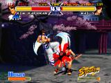 Real Bout Garō Densetsu Special: Dominated Mind PlayStation Kim Kaphwan hit-stopping Mai Shiranui's offensive with the accuracy of his anti-air move Kuu Sajin.