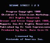 Sesame Street 1 2 3 NES Title & Copyright screen
