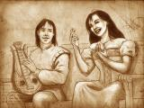 The Secrets of Da Vinci: The Forbidden Manuscript Windows Quite a few cutscenes are stills in tones of sepia. Here Valdo accompanies Marie's singing with his lyre.