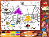 Madeline's Rainy Day Activities Windows Coloring book -- select a picture to color and go to work with the tools provided; print afterwards if you would like
