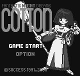 Fantastic Night Dreams: Cotton Neo Geo Pocket Color Title screen while running on the original, black & white NGP