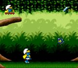 The Smurfs Travel the World Genesis Starting the level, with the first enemy in sight.