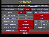 Super Kick Off SEGA Master System The option menu is quite detailed