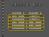 Tennis Ace SEGA Master System Main menu