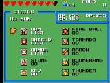 Wonder Boy III: The Dragon's Trap SEGA Master System Equipment menu