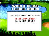 World Class Leader Board SEGA Master System Title screen and main menu