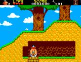 Astérix and the Secret Mission SEGA Master System Obelix getting out of a wheel.