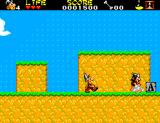 Astérix and the Secret Mission SEGA Master System That roman won't go any further now that Astérix pushed that rock block off of that ledge.