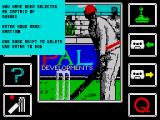 Cricket Captain ZX Spectrum Main menu, with startup info