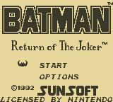 Batman: Return of the Joker Game Boy Title Screen