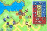 Fire Emblem: Fūin no Tsurugi Game Boy Advance Checking the stats before attacking the enemy (here, you have a sword, which is strong against his axe according to the weapon triangle)