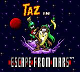 Taz in Escape from Mars Game Gear Title screen.