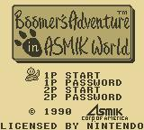 Boomer's Adventure in ASMIK World Game Boy Title Screen