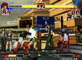 The King of Fighters '96 Neo Geo After some fighting time, Iori Yagami grabs Leona Heidern with his side-switching move Kuzukaze...