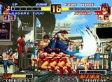 The King of Fighters '96 Neo Geo Athena Asamiya uses her move Psychic Teleport to successfully avoid Kasumi Todo's Kasane Ate damage.