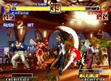 The King of Fighters '96 Neo Geo Mature gets to hit-connect accurately the first 2 blood-slashing hits of her move Death Row in King!