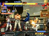The King of Fighters '96 Neo Geo Benimaru Nikaido's offensive strategy being successfully hit-stopped by Robert Garcia's Ryuuga move.