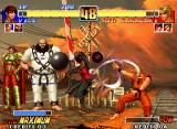 The King of Fighters '96 Neo Geo Vice uses her move Ravenous (Outrage's air version) against Ryo Sakazaki: he's about to be struck...