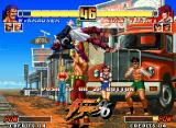 The King of Fighters '96 Neo Geo Demonstrative match: Iori Yagami's counterattack is suddenly stopped by Wolfgang Krauser's grab...