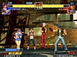 The King of Fighters '96 Neo Geo While Athena Asamiya executes a taunt, Clark Steel approaches her, trying to start a counterattack.