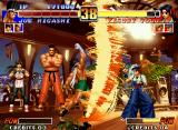 The King of Fighters '96 Neo Geo Kasumi assumes her defensive position: it's an emergency measure to avoid Joe's SDM Screw Upper...