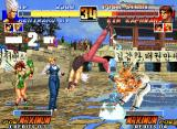 The King of Fighters '96 Neo Geo Unhappily, Kim Kaphwan was the next shockin' victim of Benimaru Nikaido's blow Handou Sandan Geri...