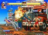 The King of Fighters '96 Neo Geo P2 Terry Bogard gets a chance to damage P1 Terry Bogard with a Power Dunk: it's strike back time!