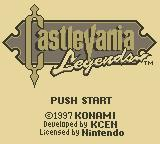 Castlevania Legends Game Boy Title Screen
