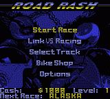 Road Rash Game Boy Color Title Menu