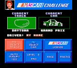 Bill Elliott's NASCAR Challenge NES Main select screen