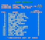 Bill Elliott's NASCAR Challenge NES Race Results screen
