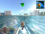 Miami Speedboat Racer Windows Some levels, such as this one, Island Hopping, have a lot of boosts with open spaces.