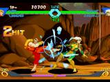 X-Men vs. Street Fighter PlayStation Ken Masters reaches the ideal distance and uses his 2-hit kickin' move Inazuma Kakato Wari in Rouge.