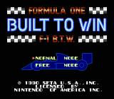 Formula One: Built to Win NES Title screen