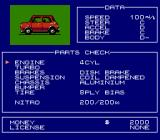 Formula One: Built to Win NES Car check -- see your car's current stats