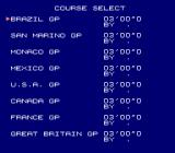 Formula One: Built to Win NES Selecting a course in the Free Mode