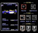Nigel Mansell's World Championship Racing NES Car setup -- choose transmission type, tire, and wing