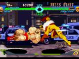 X-Men vs. Street Fighter PlayStation Zangief executes his move Elbow Drop aiming to hit Sabretooth successfully: now, he is about to get!