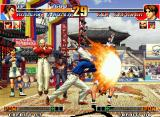 The King of Fighters '97 Neo Geo Kim Kaphwan uses successfully the dodge maneuver and escapes from Robert Garcia's move Ryuugeki Ken.
