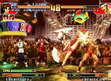 The King of Fighters '97 Neo Geo Joe Higashi attempts to strike back Mai Shiranui, but her close Strong Kick avoided his offensive...