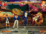 "The King of Fighters '97 Neo Geo Shingo Yabuki executing his move 100 Shiki: Oniyaki Mikansei against Andy Bogard: a ""Critical Hit!!"""