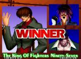"The King of Fighters '97 Neo Geo Post-match ""victory"" screen."