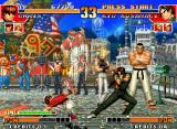 The King of Fighters '97 Neo Geo Suddenly, Kyo Kusanagi forces a defensive posture to avoid the next menace: Chris' move Hunting Air!