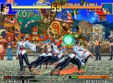 The King of Fighters '97 Neo Geo Chizuru attempting to hit Leona Heidern with her move 212 Katsu: Shinsoku no Norito... successfully?